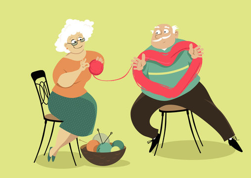 A senior couple untangling a skein of yarn in a shape of heart, EPS 8 vector illustration