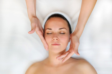 Spa procedure of face massage.