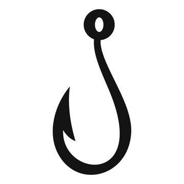 Summer fishing hook icon. Simple illustration of summer fishing hook vector icon for web design isolated on white background
