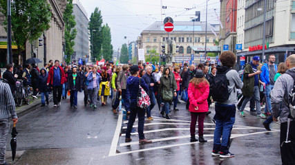 Coalition of groups march to protest the Bavarian Social Union