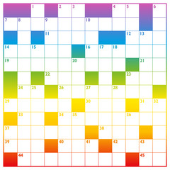 Crossword with rainbow gradient color pattern and empty boxes to be labeled with a clear message, brief heading or explicit information in keywords - square format template.