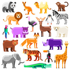 Zoo animals set. Vector flat illustration. Cute colorful characters isolated on white background