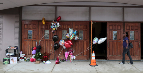 A memorial set up for singer Aretha Franklin is seen outside the New Bethel Baptist church in Detroit