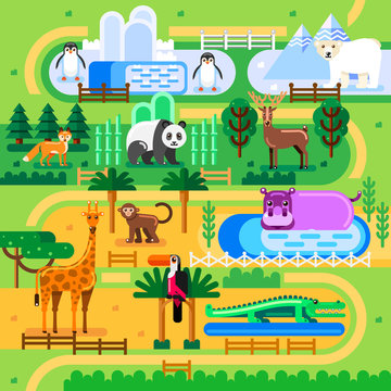 Zoo map concept. Wild animals in jungle family park, vector flat illustration. Summer fun background