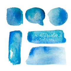 Watercolor backgrounds set. Collection of blue watercolor textures with brush strokes. Watercolor stains isolated on white background. Vector illustration