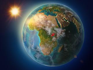 Uganda with sunset on Earth