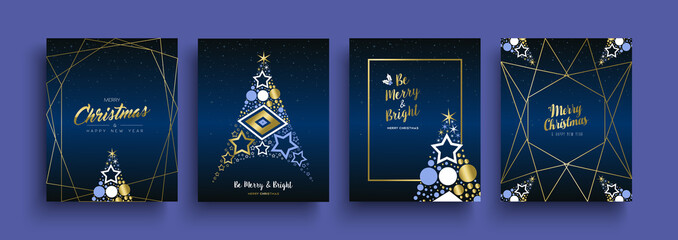 Christmas and New Year gold holiday icon card set