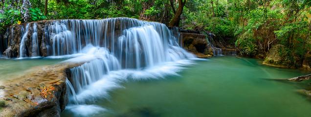 Deurstickers Watervallen Panoramic waterfall in rainforest at National Park, Thailand.