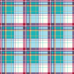 Seamless blue red white and orange classic textile check madras pattern vector