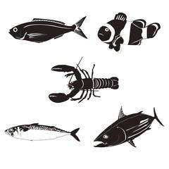 海の生き物シルエット