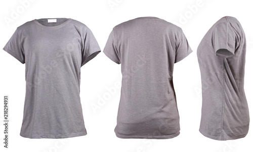 Womens Blank Grey T Shirt Front Back And Side Vie Template