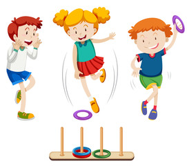 Children playing ring toss