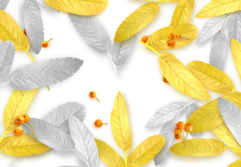 Fall Foliage. Autumn background with golden and silver leaves with realistic rowan berries.