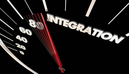 Integration Car Vehicle Automobile Integrated Tech Speedometer Word 3d Illustration