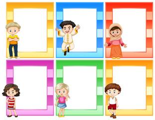 Set of children next to frames concept