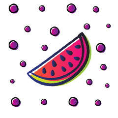 funy watermelon fruit with doodle sketch style use gradient color and dots pattern as a background