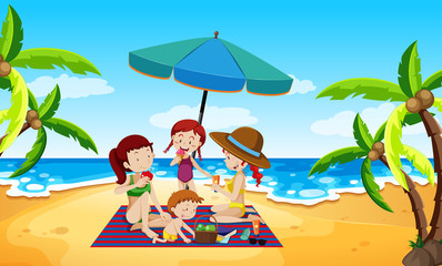 People under an umbrella beach scene