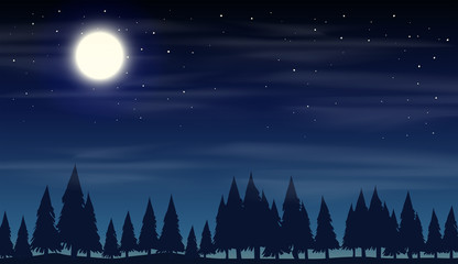 Night scene with silhouette woods