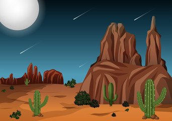 Desert at night time scene