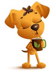 Yellow funny dog holds mug and drinks black hot tea