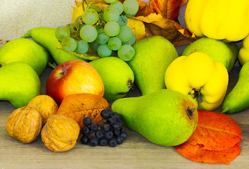 autumn fruit composition view from the top. healthy and natural food