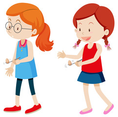 Girls and egg spoon race