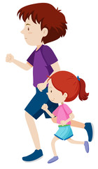 man and young girl on a run