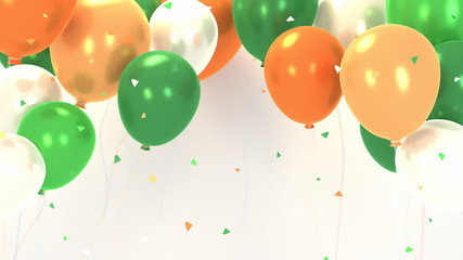 Green, orange and white balloons party. Falling confetti effect. 3d rendering picture.