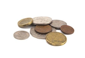 Australian Coins on a White Background