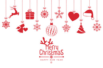 Christmas background with Christmas res balls, snowflakes, on white background