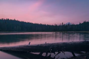 Hazy pink sunset at Frog Lake, Oregon