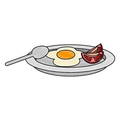 dish with egg fried and tomato