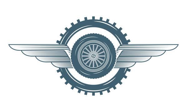 industry automotive wheel car gears wings emblem