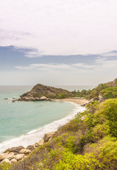A typical view in Tayrona National Park in Colombia.