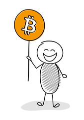 Happy stickman holding hand drawn bitcoin icon. Vector.