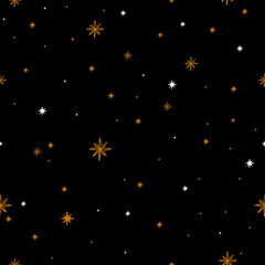Seamless pattern with a night sky of stars and constellations. Hand-Drawn illustration Background. Beautiful elegant magic abstract picture. For printing on textiles, wallpaper and other decor.