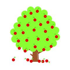 Fruit tree flat style vector illustration isolated on white background