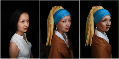 """Combination picture shows makeup artist He Yuhong posing without her makeup and garments, and without her makeup following her transformation into the """"Girl with a Pearl Earring"""" at her house in Chongqing"""