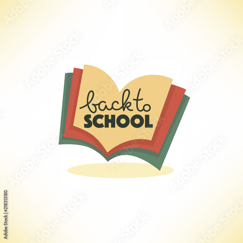 back to school, lettering composition with image of open