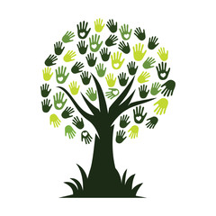 Human love hands in tree Illustration