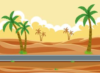 A desert road landscape