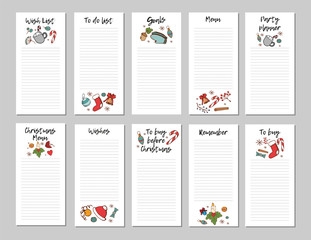 Wish List for Christmas. Christmas page with candy cane,  ornaments, candle, Christmas red hat, hand drawn elements. Printable page, vector illustration.