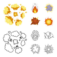 Flame, sparks, hydrogen fragments, atomic or gas explosion, thunderstorm, solar explosion. Explosions set collection icons in cartoon,outline style vector symbol stock illustration web.