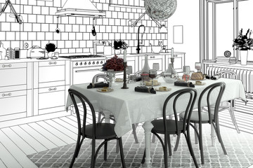 Arrangement of a Kitchen (plan)