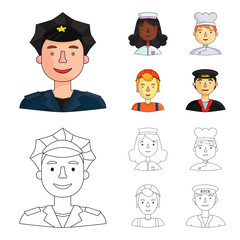 nurse dressing gown, a cook , a builder , taxi driver cap. People of different professions set collection icons in cartoon,outline style vector symbol stock illustration web.