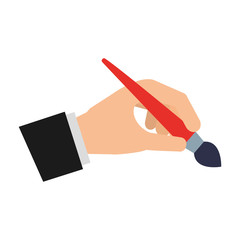 hand with paint brush isolated icon