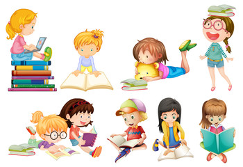 A set of kids study on white background