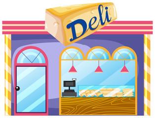A deli shop on white background
