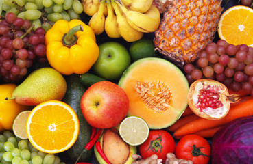 Fresh fruits and vegetables as healthy and natural food