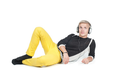 Man in headphones lying down